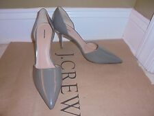J CREW ELSIE GLOSSY LEATHER D'ORSAY PUMPS SHOES HEEL  SIZE-10 #C4692 FRESCO GREY