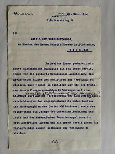 """Oscar Bondy 1870-1944 Wien / Autograph 1924 Brief an """"Verein der Museumsfreunde"""""""