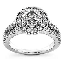 1 Ct D VS2 Round Cut Diamond Engagement Ring 14K White Gold