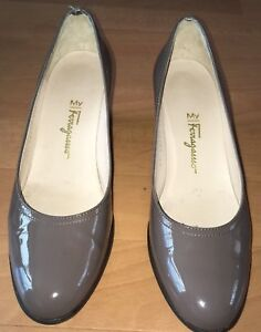 Beautiful designer Ferragamo patent Taupe wedge heels court Shoes size UK 4.5 B