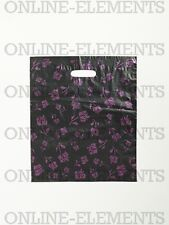 50 Plastic Die Cut Boutique Shopping Carry Gift Bags -350x250mm - Black & Pink