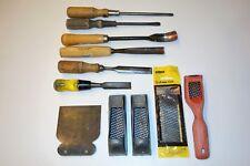 Vintage Wood Carving Tools, Bent Spoon, Sweep Straight Chisel, Stanley Surform
