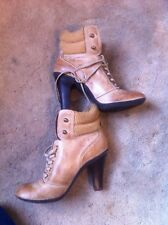 100%Cento Per Cento Ankle Boots Leather Tanned Ladies Size 4 Eu 37 Used Twice