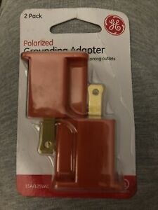 NEW GE 14404 Polarized Grounding Adapter, Orange 2 Pack Plug 3 to 2 prong outlet