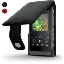 Black Leather Skin Flip Case for Sony Walkman NW-A35 NW-A40 Cover + Screen Prot