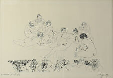 Spitzer Walter (Polish, 1927) Etching on Paper Group of Nude Men & Women Signed