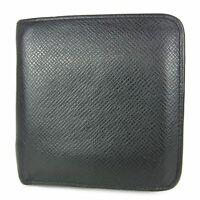 Auth LOUIS VUITTON M30672 Taiga Porte Monnaie Round Zipper Bifold Wallet 13660b
