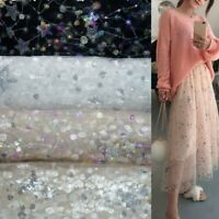 Sequin Mesh Tulle Fabric Star Embroidery Lace Sparkle Tutu Skirt Dress Shiny DIY