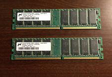 Micron 1GB RAM Kit 2 x 512MB DDR PC3200 400MHz CL3 DIMMs MT8VDDT6464AG-40BD1
