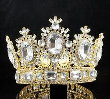4 INCHES BEAUTY QUEEN CRYSTAL RHINESTONE LARGE TIARA CROWN PAGEANT T2131G GOLD