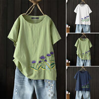 ZANZEA 8-24 Women Floral Embroidered Top Tee T Shirt Cotton Plus Size Blouse