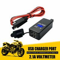 1x adattatore SAE USB PRESA accendisigari Caricabatterie & VOLTMETRO PROLUNGA IT