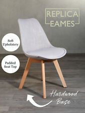 8 x Dining Chairs Retro Replica Eames Eiffel DSW Cafe Kitchen Birch Fabric New