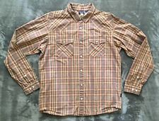 Patagonia Beige Brown Plaid Button Shirt Large Organic Cotton Long Sleeve A01