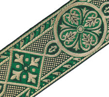 "3 YDS Green & Gold Medieval Jacquard Trim for Chasuble Vestment 2 3/8"" Religious"