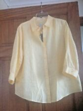 Ladies Linen Top Shirt Blouse NO IRON  14/16 M/L RRP $89 by Chico's USA NEW