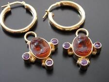 TAGLIAMONTE Earrings YGP/SS 'JUNO' Amber VENETIAN CAMEO+AMETHYST Charm & HOOPS