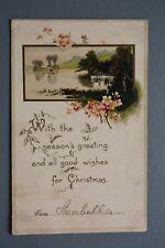 R&L Postcard: Greetings Christmas Beautiful Waterfall Countryside Flower Scene