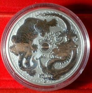 2020  AUSTRALIA  Dragon and Tiger  9999  Silver 10 oz  Coin