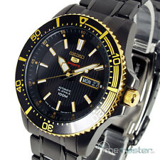 New SEIKO 5 SPORTS AUTO ION BLACK & GOLD TONE DIVERS STYLE SRP558J1