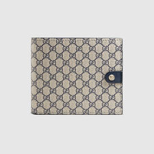 CLEARANCE GUCCI Men's classic blue micro GG supreme canvas bifold wallet ITALY