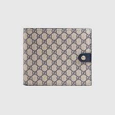 SALE NWT GUCCI Men's classic blue micro GG supreme canvas bifold wallet ITALY