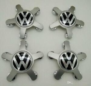 4x VW VOLKSWAGEN Alloy Star Wheel Hub Centre Caps Black 135mm OEM Badges