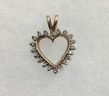 Beautiful 10k Solid Yellow Gold Diamond Heart Pendant-1.7g