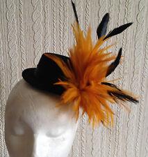 orange feather black mini top hat fascinator headpiece fancy dress hair clip