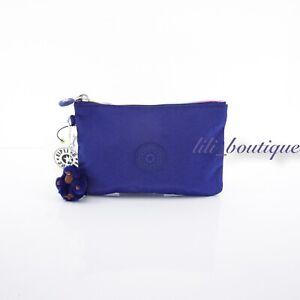 NWT Kipling AC8641 VIV Cosmetic Accessory Pouch Rainbow Zip Nylon Twilight Blue