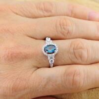 London Blue Topaz 925 Sterling Silver Halo Ring UK Size R 18.7mm