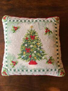 Vintage Wool Needlepoint Pillow  Christmas Tree Red Velvet Back w/Zipper 14x14