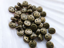 20 x Smiley Face Flat Round Coin Spacer Beads 6mm x 3mm Antique Bronze LF NF