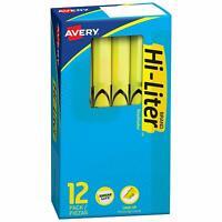 Avery Hi-Liter Pen-Style Highlighters, Chisel Tip, Fluorescent Yellow, Dozen