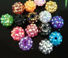 30Pcs Resin Twinkling Disco Ball AB Crystal Spacer Beads 12x10mm