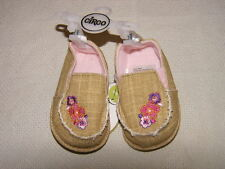 Circo Newborn Infant Baby Khaki Fashion Shoes Flowers Sz 6-9 Mos Nwt