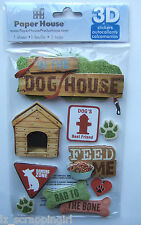 ~IN THE DOG HOUSE~ Paper House Productions 3D Stickers; Puppy Puppies Dogs, pet