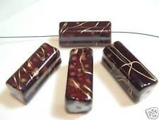 6 x Green//Gold Long Cube Acrylic Beads BNA153C