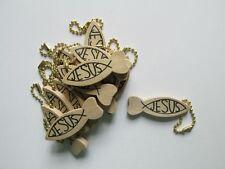 72 Wood JESUS Fish Wood KEYCHAINS religious keychain VBS church Sunday School