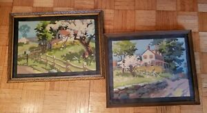 2 Vintage 1960's Paint By Number Scenic Country Pictures