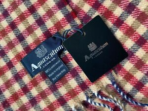 AQUASCUTUM SCARF BRAND NEW WITH TAGS LAMBSWOOL RED & CHOCOLATE