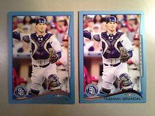 Dodgers YASMANI GRANDAL Lot 2 2014 Topps Wal-Mart BLUE Border Parallel Card #67