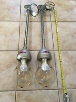 2 Crouse Hinds Vintage Industrial Explosion Proof VDB3 Pendant Lights Restored!