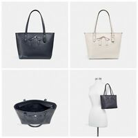 New Coach F28988 Mini City Zip Tote With Bow Pebble Leather