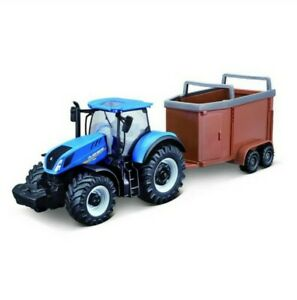New Holland T7.315 Motorized Diecast Tractor & Trailer.1:50 Scale Farm Gift Toy