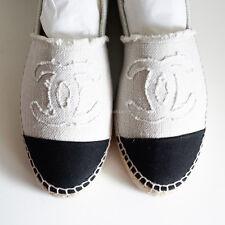 100% authentic BN CHANEL linen espadrilles flats off white black fabric shoes 38