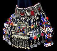 Big Afghan Tassel Pendant Kuchi Choker Necklace Ethnic Tribal Jewelry Dance Boho