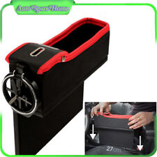 Leather Car Seat Gap Catcher Pocket Coin Storage Box w/Cup Holder For Left Side