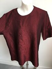 Burgundy dark Red Wine formal snakeskin look Tonight opera Blouse top Size 18