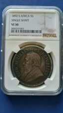 1892 South Africa ZAR 5 Shilling Silver Coin Single Shaft, Paul Kruger NGC VF-30